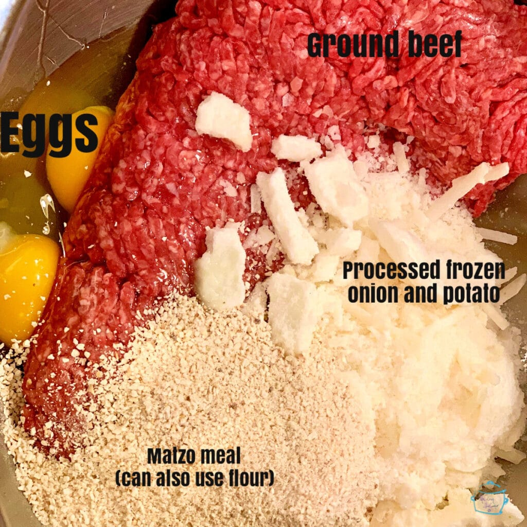Raw meatball ingredients prior to mixing