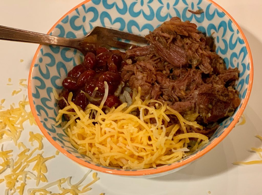 Lazy Beef barbacoa bowl with beans, rice and cheese