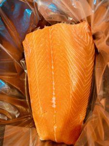 Raw salmon filet in slow cooker