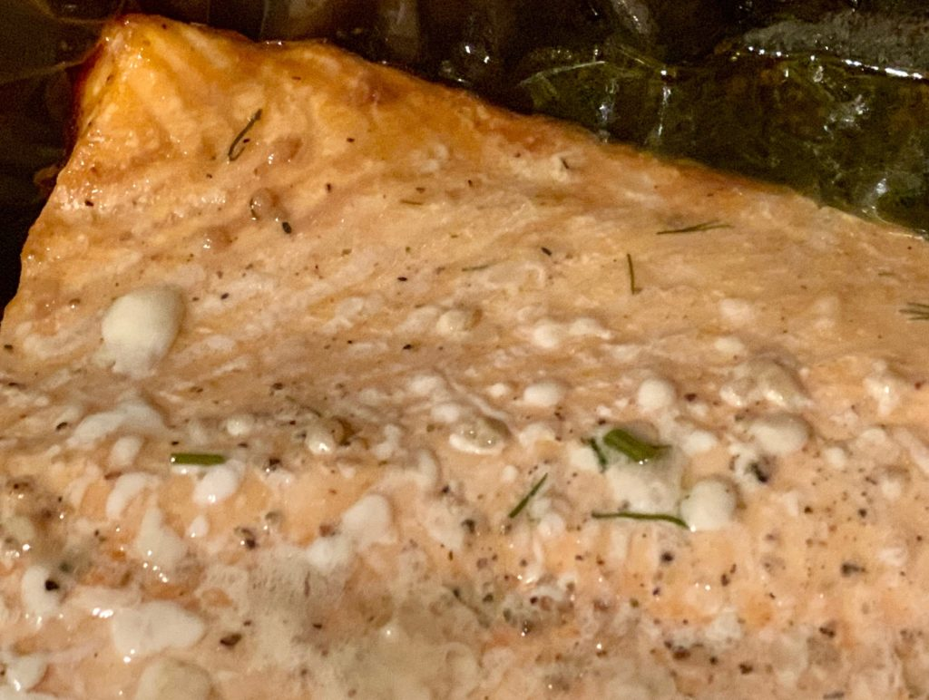 Close up of cooked salmon filet