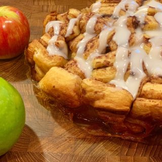Finished cinnamon roll pull apart with apples