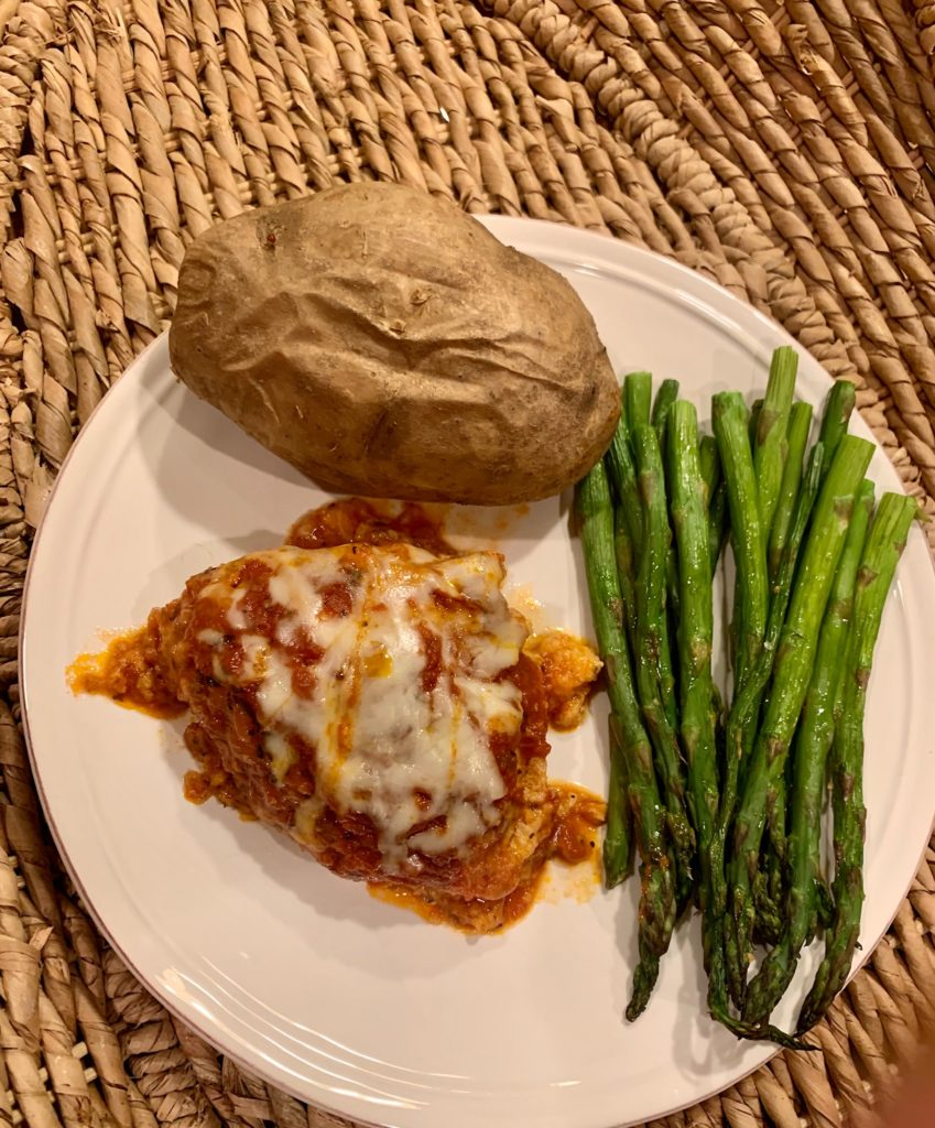 Chicken parm plated