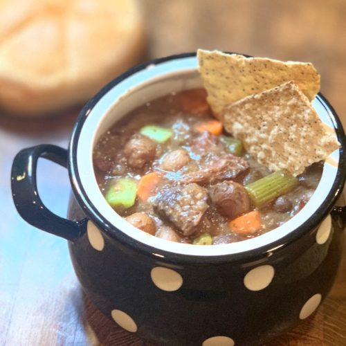Slow cooker beef stew in bowl