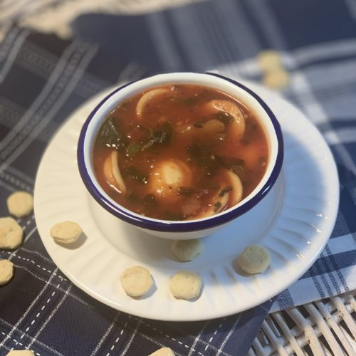 Lazy slow cooker ravioli soup