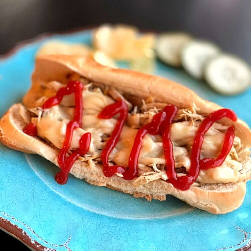 turquoise plate with finished sandwich drizzled with ketchup with pickles in the bakcground