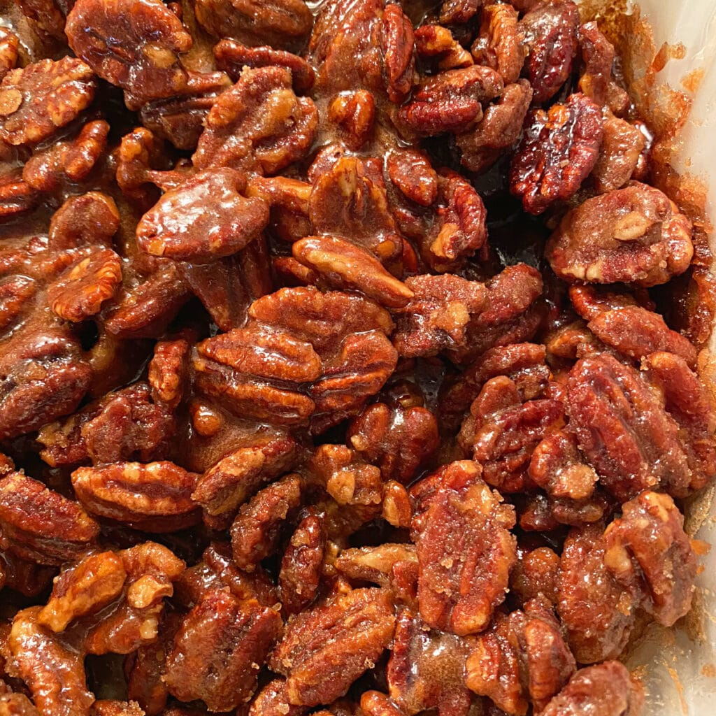 close up of cooked nuts that have not yet been cooled