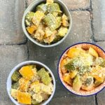 three bowls of zucchini and squash parmesan