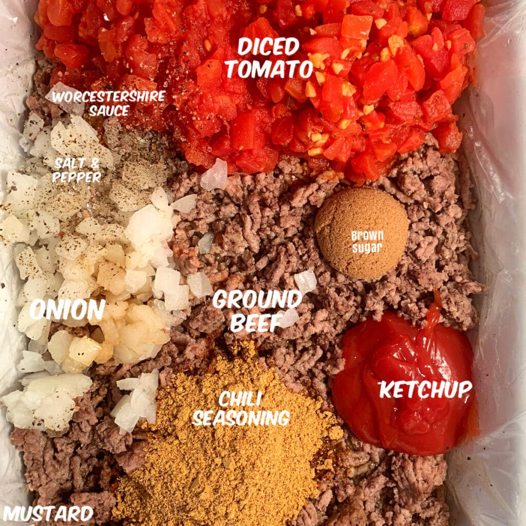 All ingredients labeled in a white slow cooker