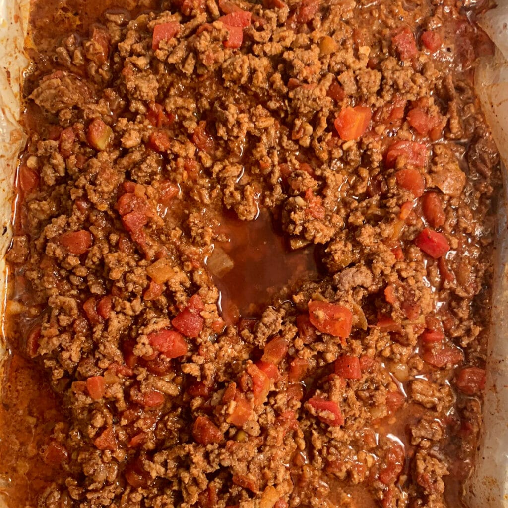 Finished chili in crockpot