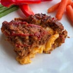 close up of mac & cheese stuffed meatloaf