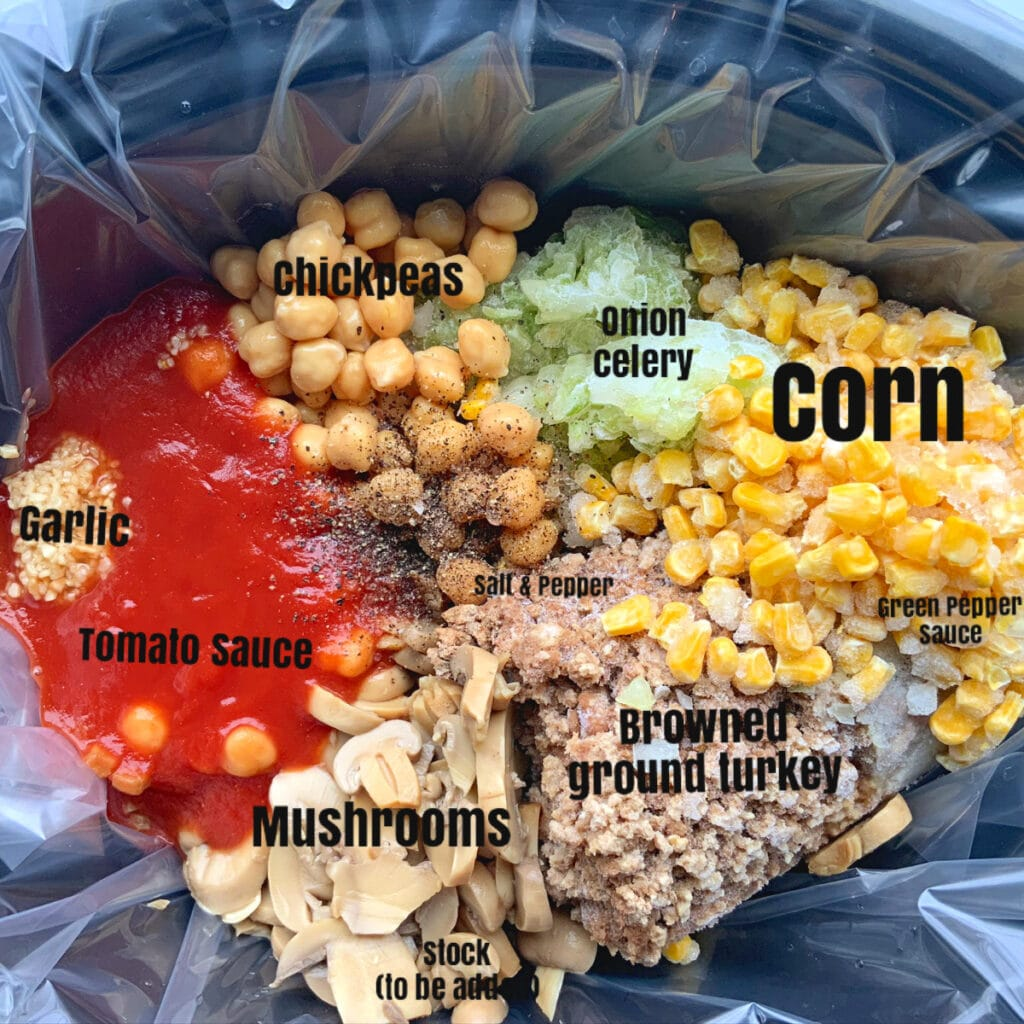 View of all ingredients in crockpot prior to cooking. Each item is labeled