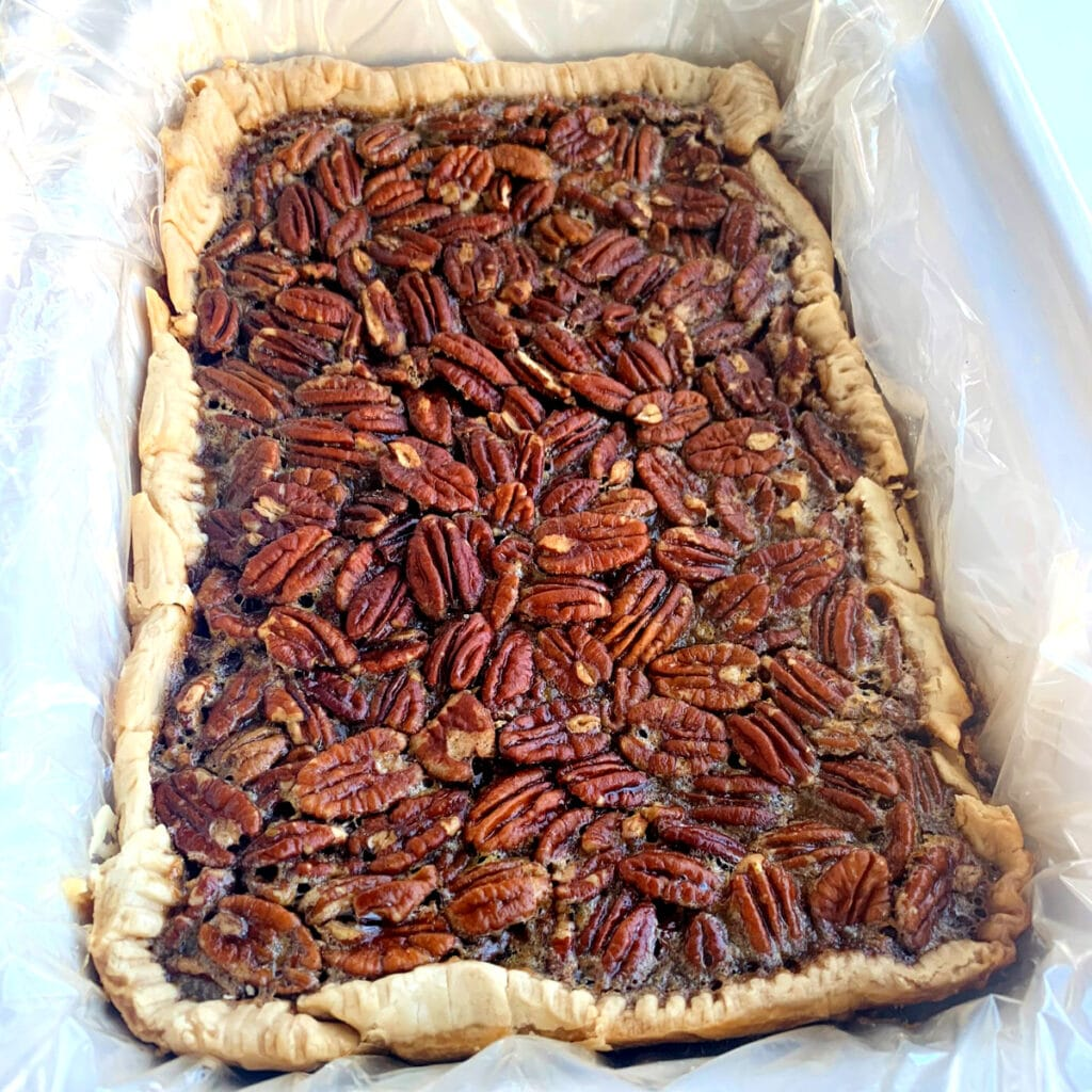 Finished pecan pie cooling in crockpot