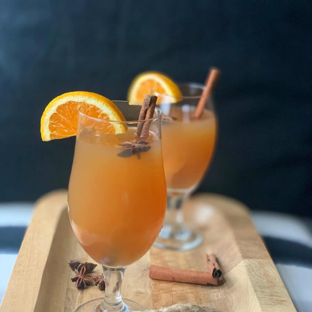 close up of a finished glass of spiked hot apple cider with fruit and cinnamon stick garnish