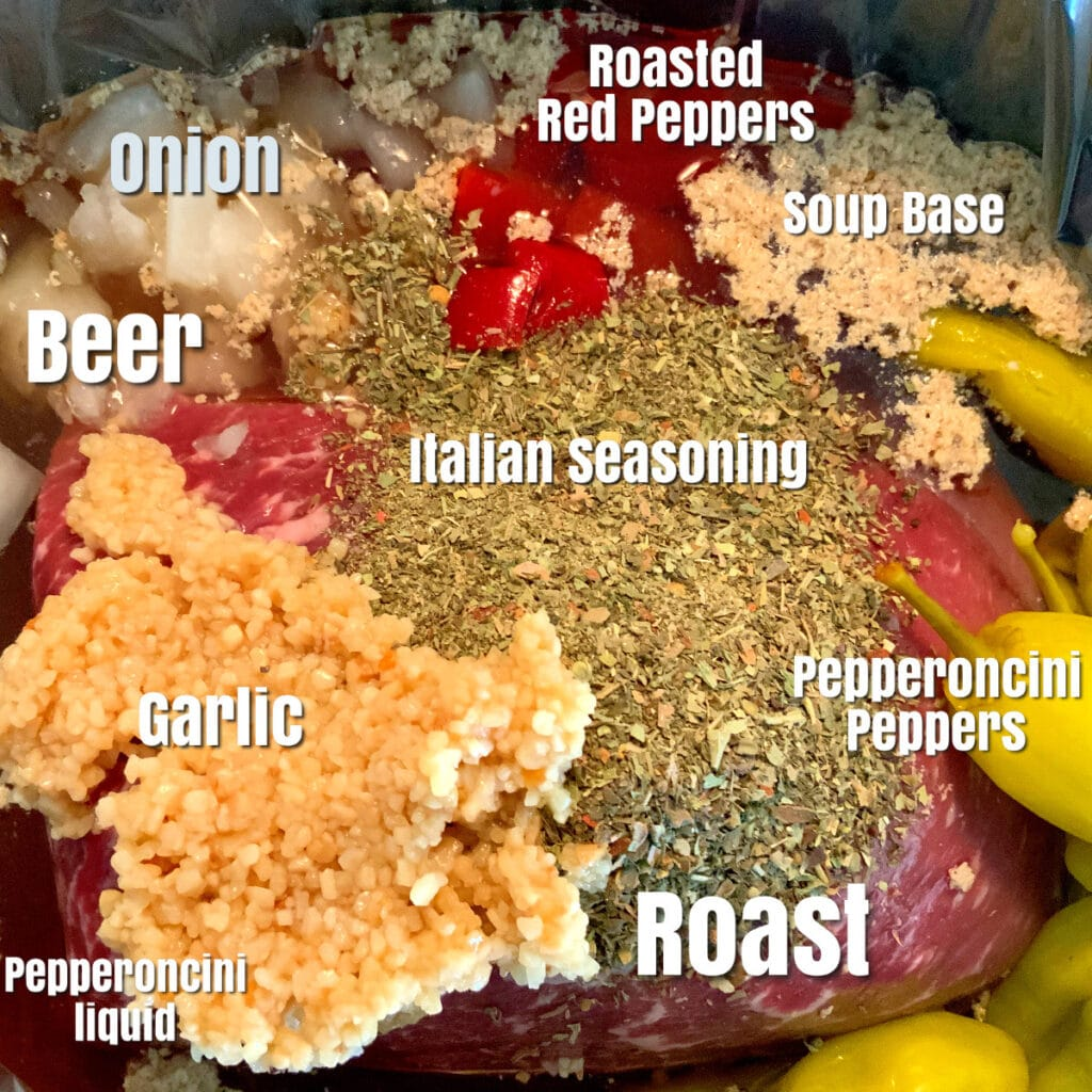 All raw ingredients for Italian Beef in slow cooker with labels