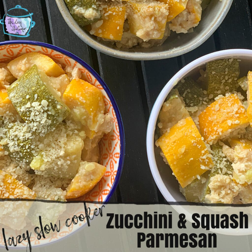 Squash and zucchini chunks lightly coated in grated parmesan cheese in 3 round bowls on a black table