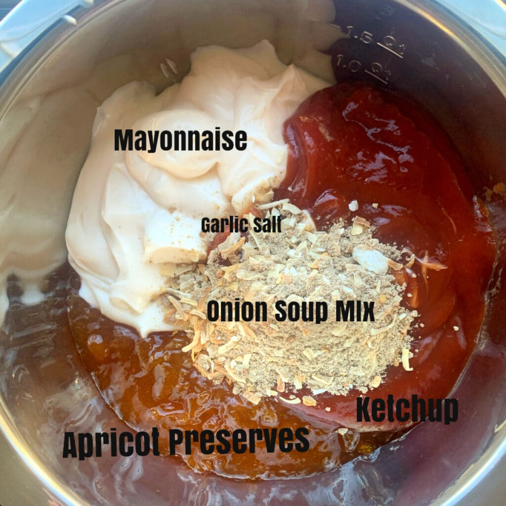 ingredients for sauce in a bowl with labels prior to mixing