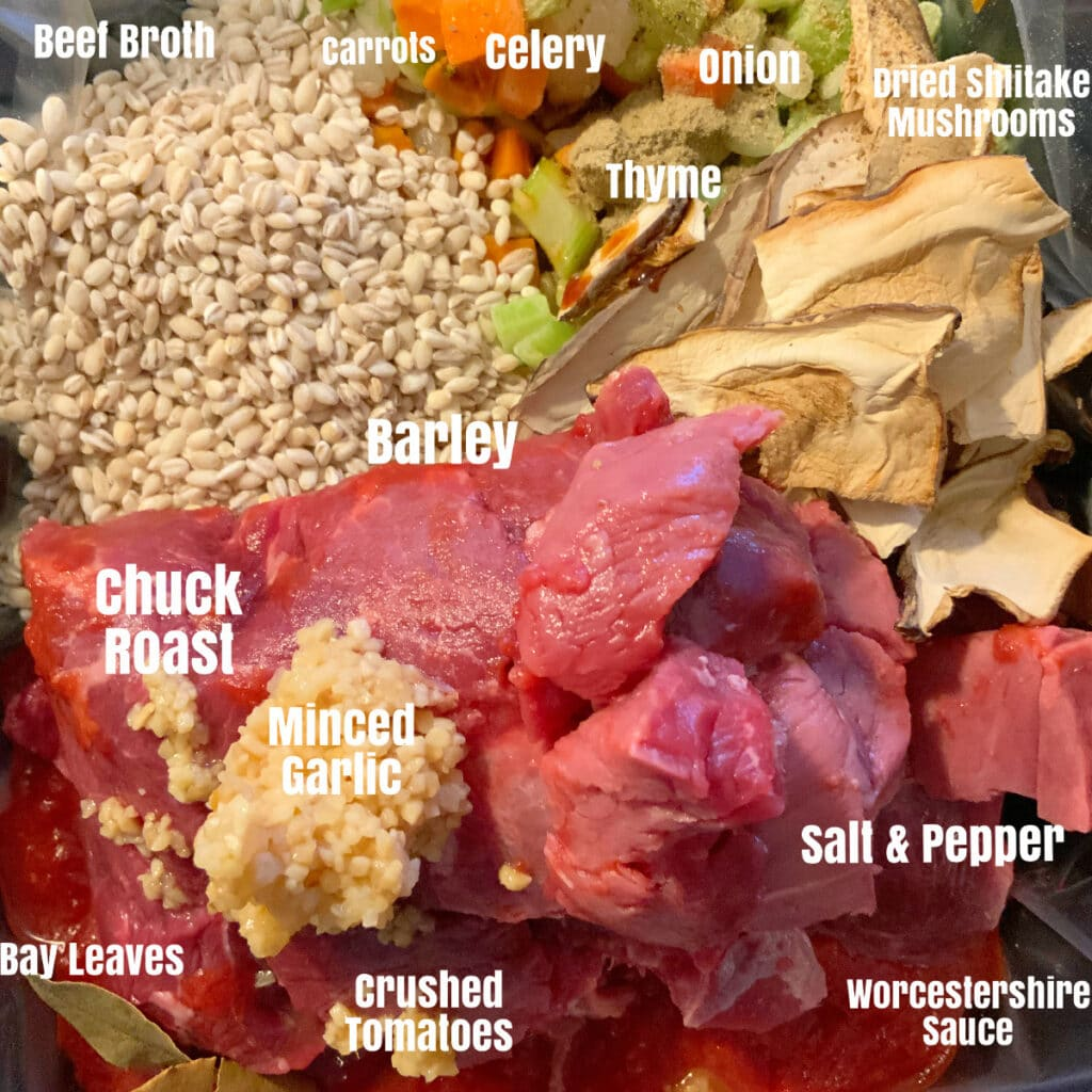 Raw ingredients for soup in slow cooker with labels