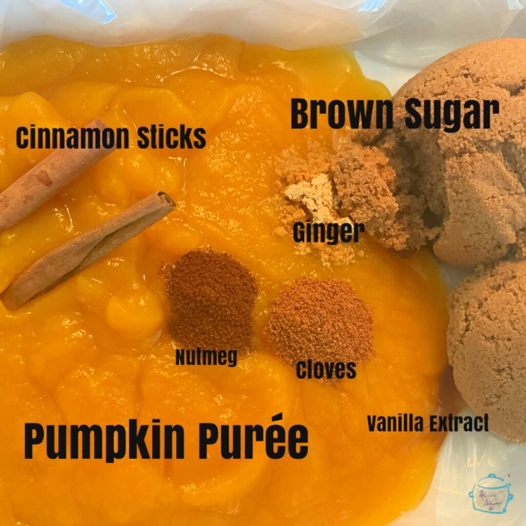 Pumpkin butter ingredients in slow cooker before mixing with labels