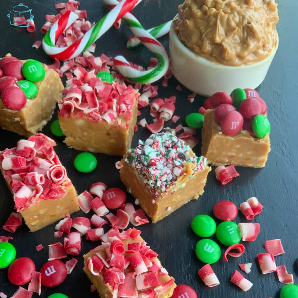 Peanut better fudge with red, white and green candy decorations on top