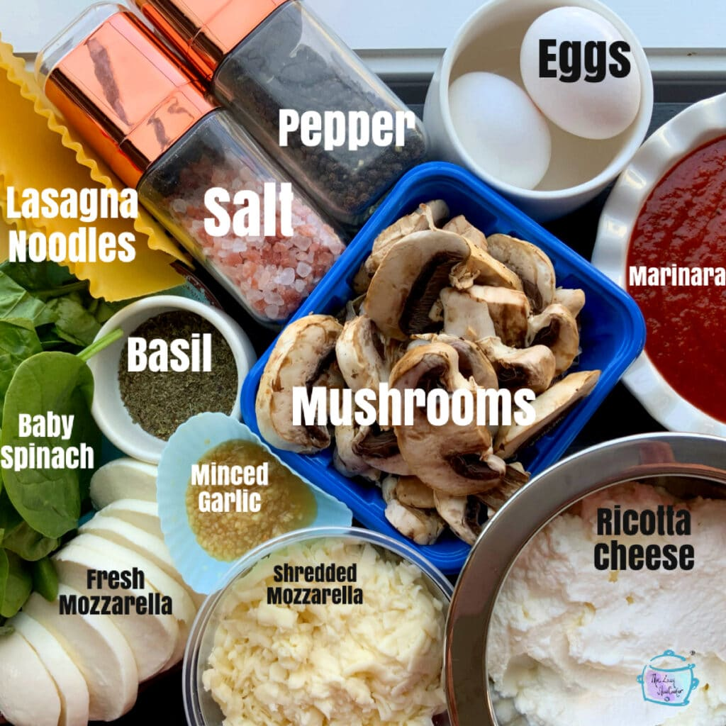 Spinach mushroom lasagna ingredients with labels