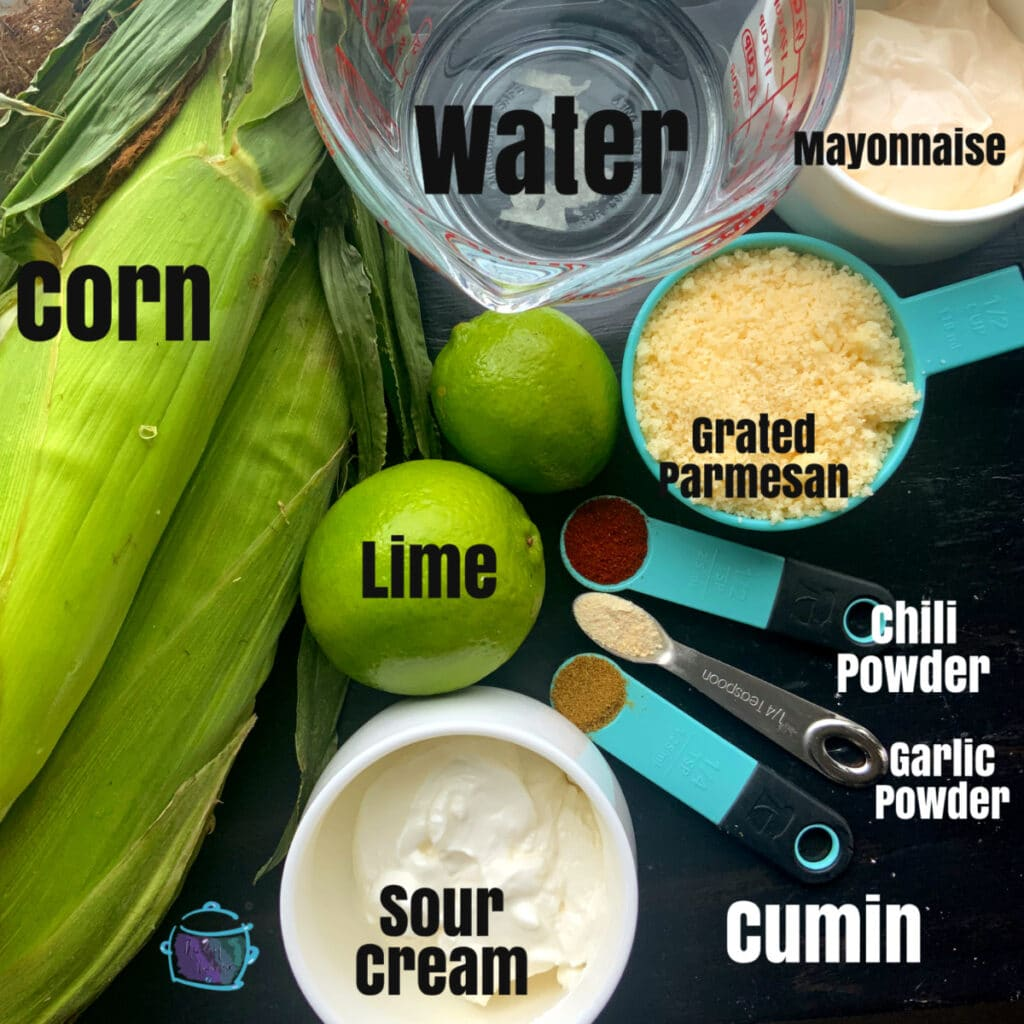 All corn ingredients on a table with labels