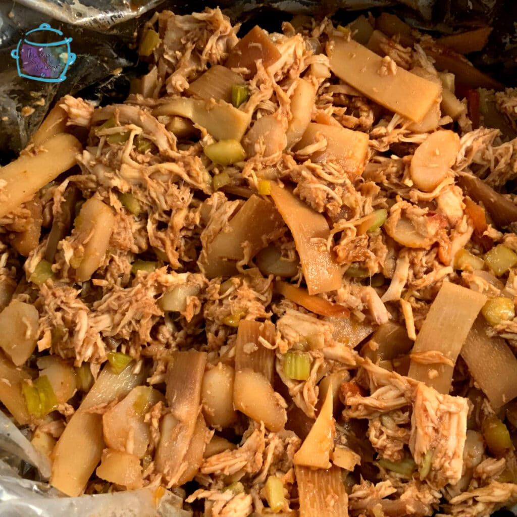 close up of chicken dish still in slow cooker