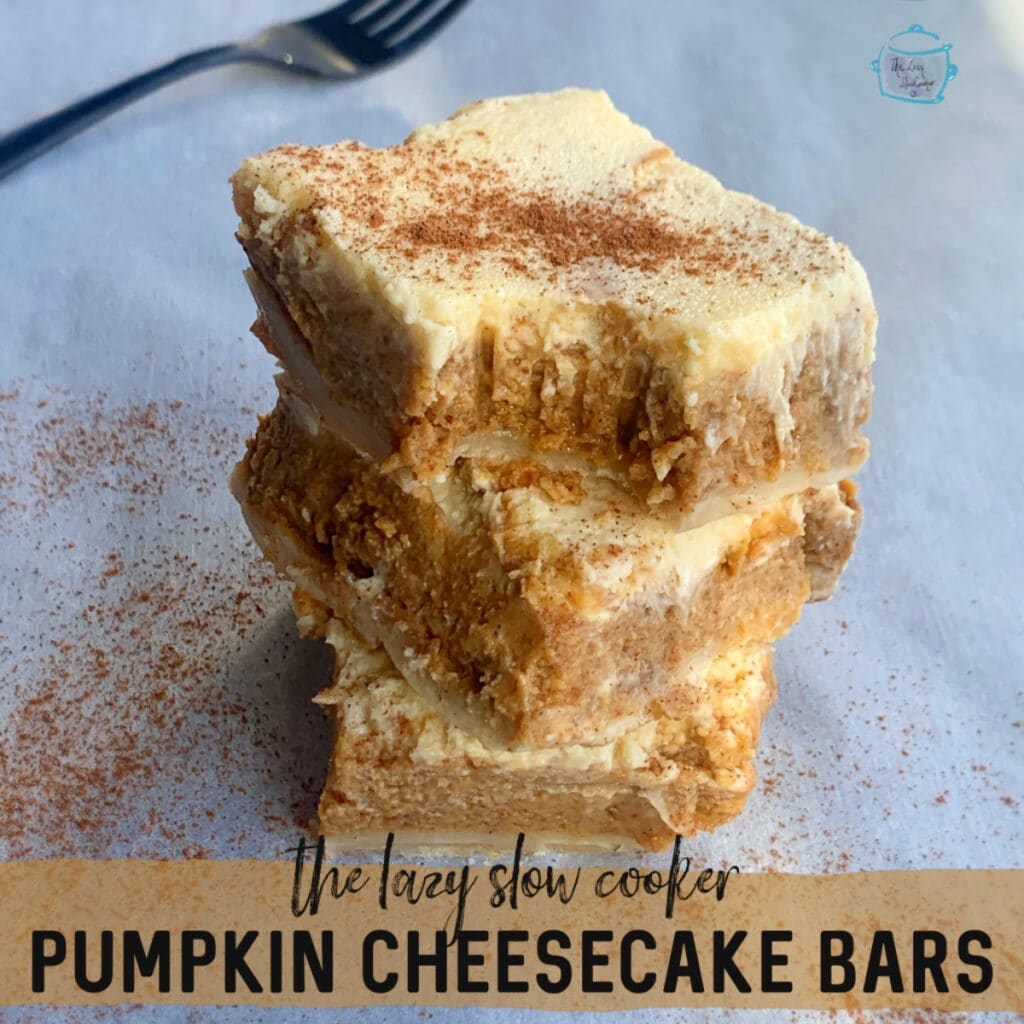 three pumpkin cheese cake squared piled on top of each other