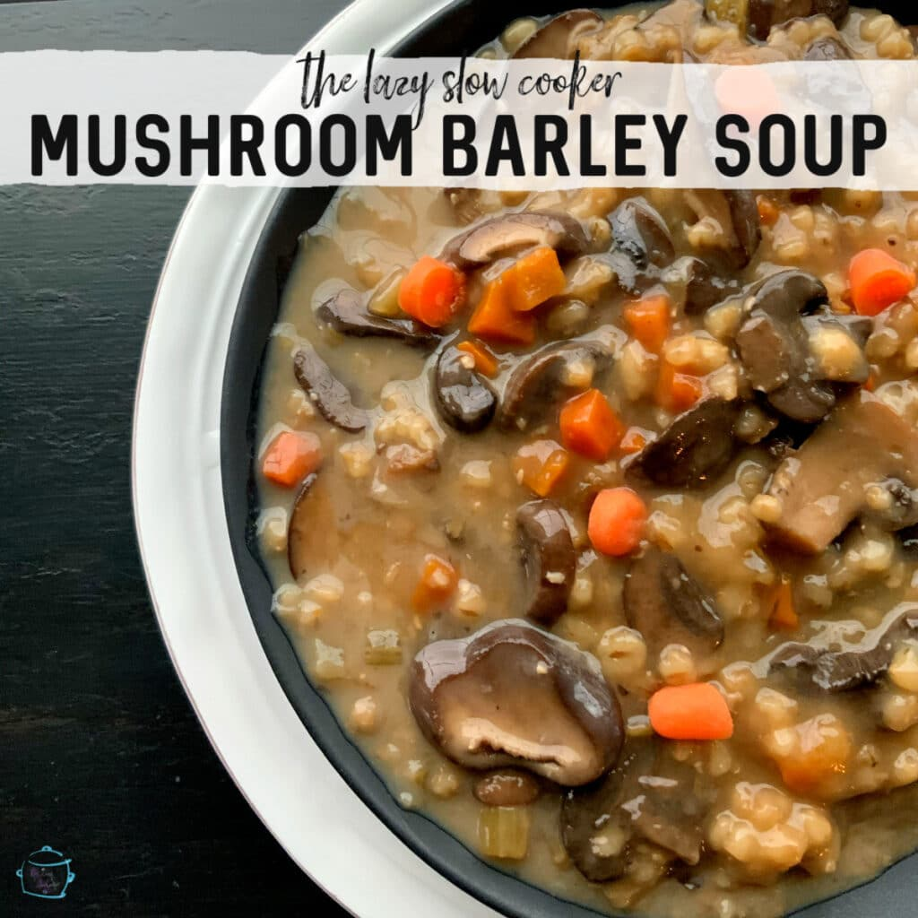 close up of a bowl filled with soup, barley and mushroom pieces
