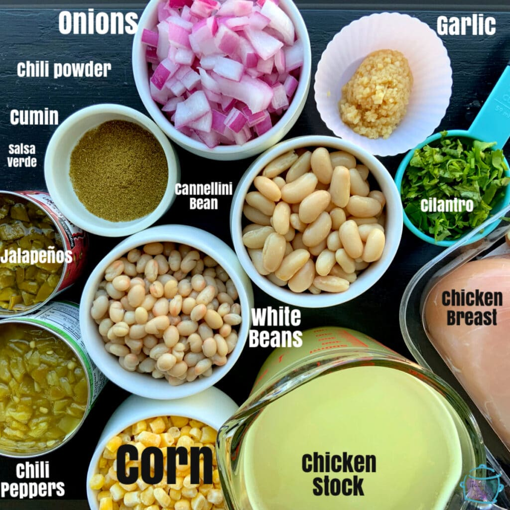 All white chicken chili ingredients with labels